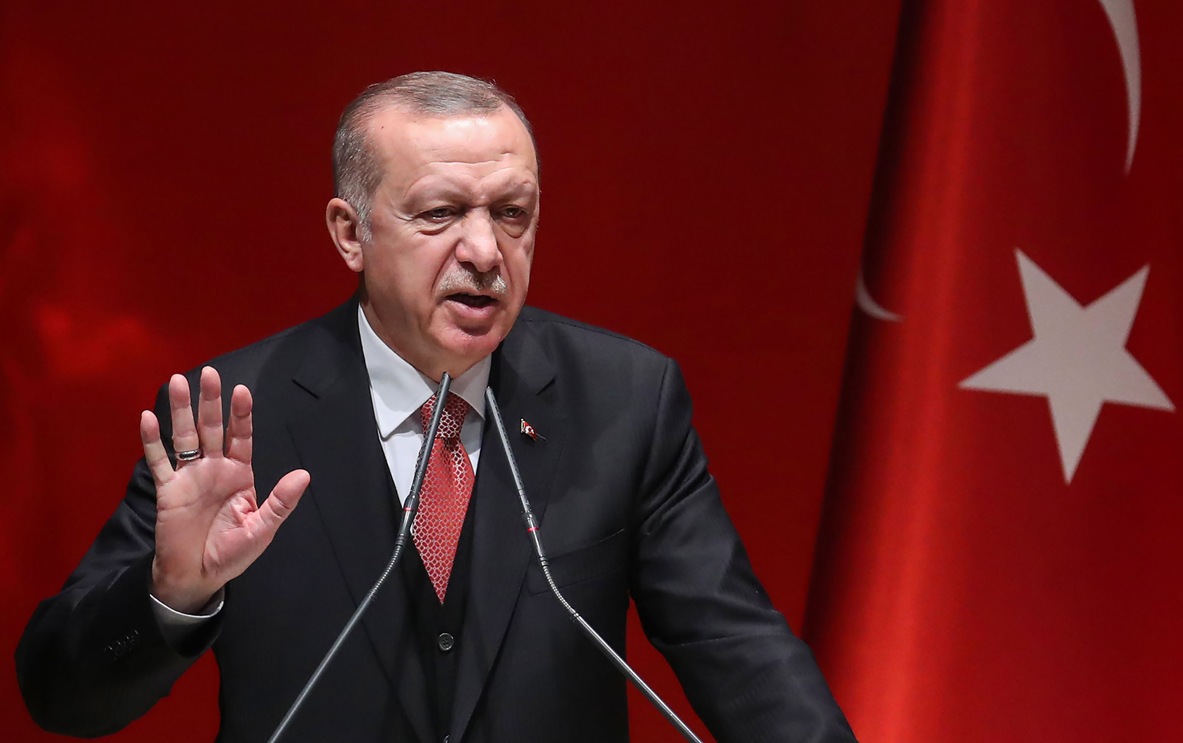 Turkish President Recep Tayyip Erdogan addresses a meeting of provincial election officials at the headquarters of his ruling Justice and Development (AK) Party in Ankara on January 29, 2019. (Photo by Adem ALTAN / AFP)        (Photo credit should read ADEM ALTAN/AFP/Getty Images)